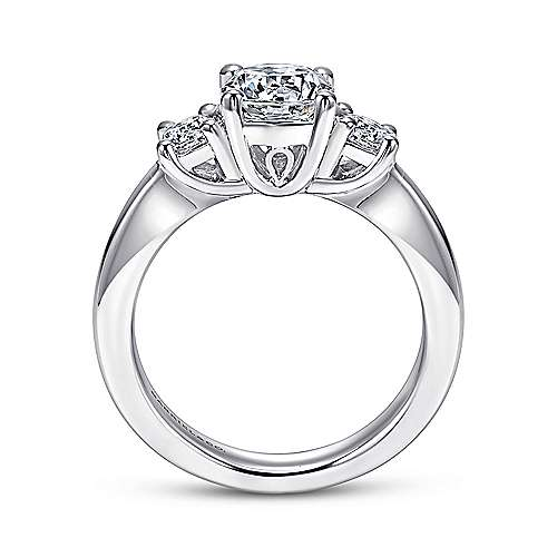 14k White Gold Round 3 Stones Engagement Ring angle 2