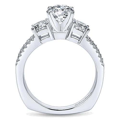 14k White Gold Round 3 Stones Engagement Ring angle 2