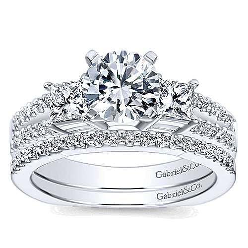 14k White Gold Round 3 Stones Engagement Ring angle 4