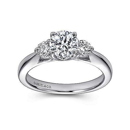 14k White Gold Round 3 Stones Engagement Ring angle 5