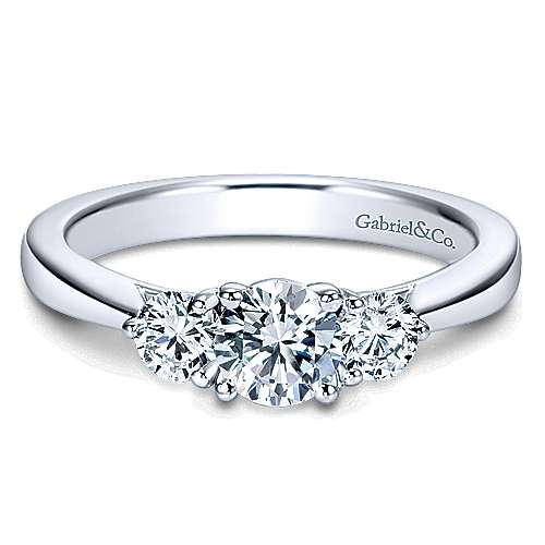 Gabriel - 14k White Gold Round 3 Stones Engagement Ring