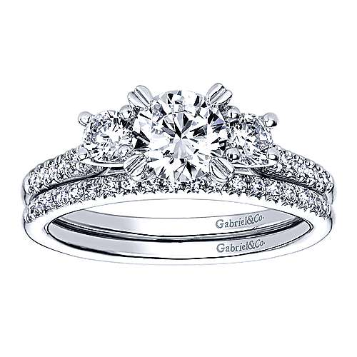 14k White Gold Round 3 Stones Engagement Ring angle 4