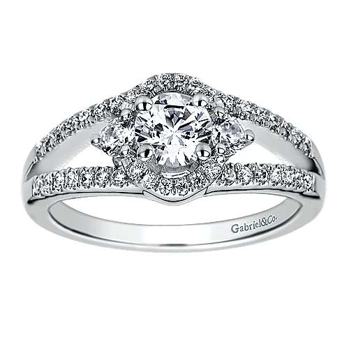 14k White Gold Round 3 Stones Engagement Ring angle 5