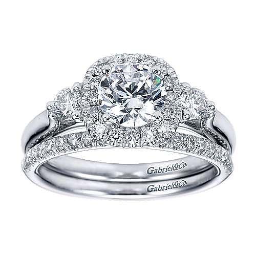 14k White Gold Round 3 Stones Halo Engagement Ring angle 4