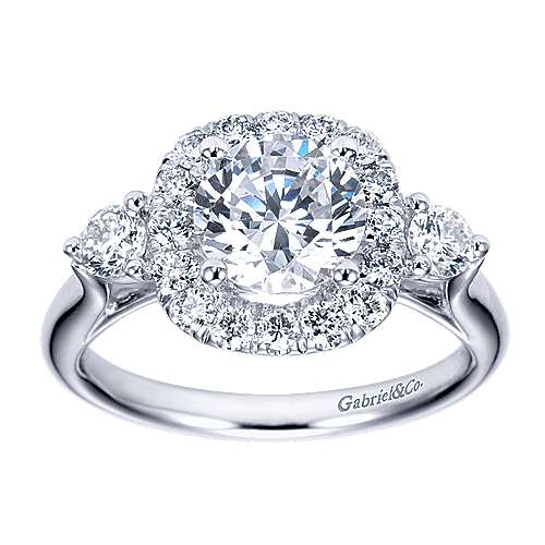 14k White Gold Round 3 Stones Halo Engagement Ring angle 5