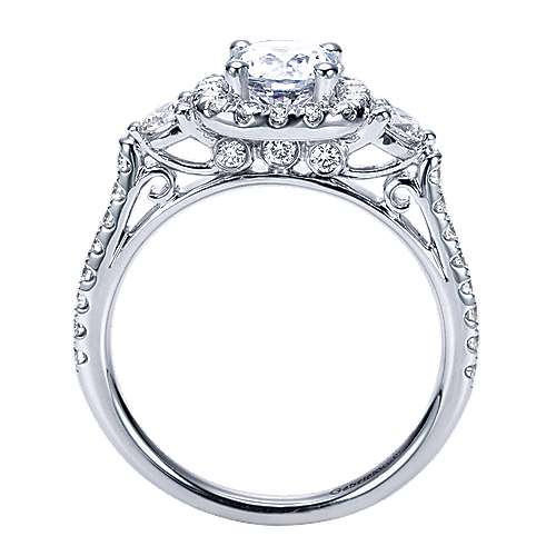 14k White Gold Round 3 Stones Halo Engagement Ring angle 2