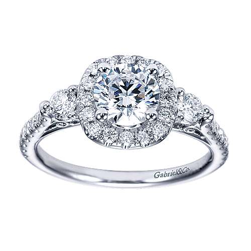 14k White Gold Round 3 Stones Halo Engagement Ring angle 5