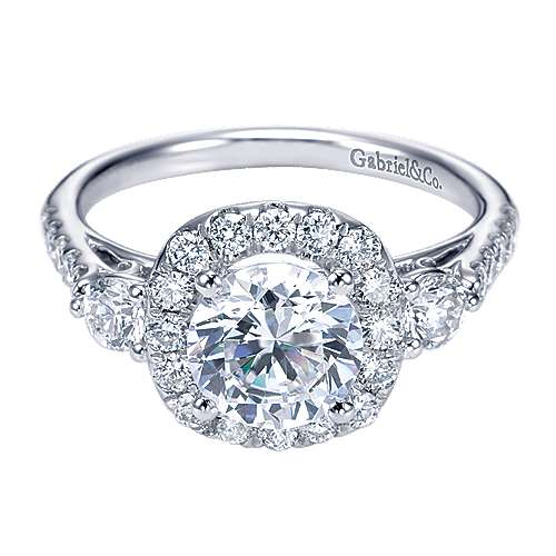 Gabriel - 14k White Gold Round 3 Stones Halo Engagement Ring