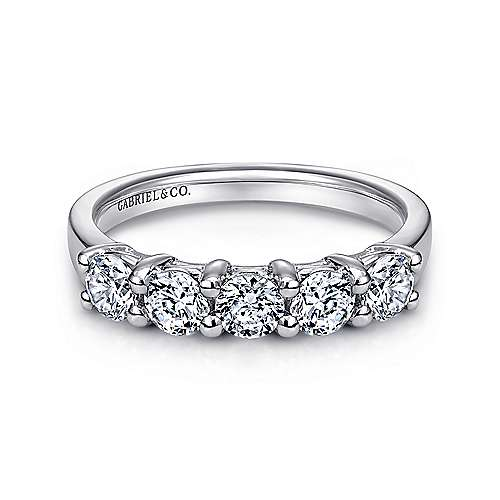 14k White Gold Round 5 Stone Diamond Anniversary Band angle 1