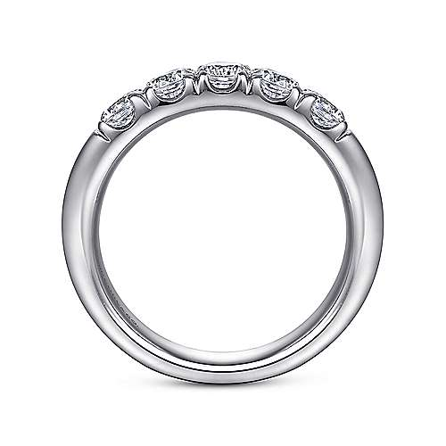 14k White Gold Round 5 Stone Diamond Anniversary Band angle 2