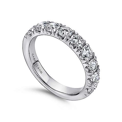 14k White Gold Round 9 Stone Diamond Anniversary Band angle 3