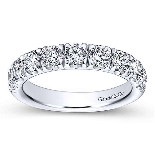 14k White Gold Round 9 Stone Diamond Anniversary Band angle 5