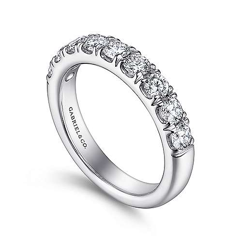 14k White Gold Round 9 Stone Diamond Anniversary Band
