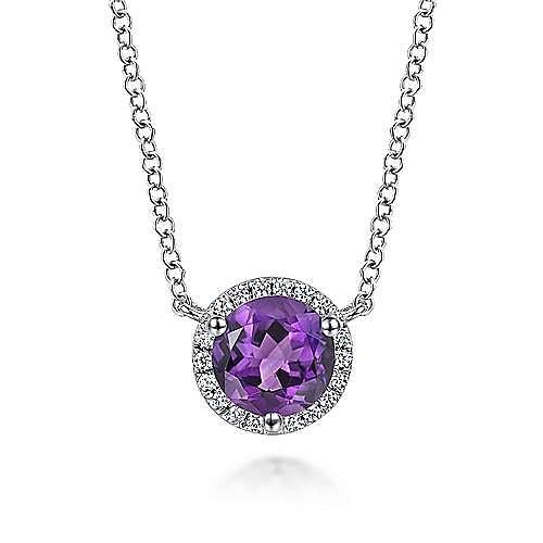 14k White Gold Round Amethyst Diamond Halo Fashion Necklace