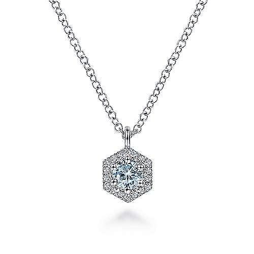 14k White Gold Round Aquamarine Hexagonal Diamond Halo Fashion Necklace