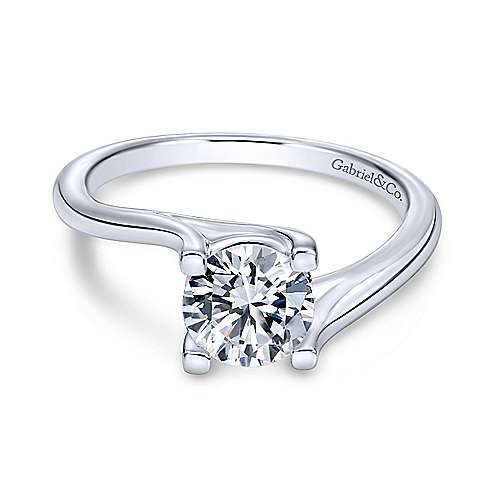 Gabriel - 14k White Gold Round Bypass Engagement Ring