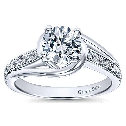 14k White Gold Round Bypass Engagement Ring angle 5