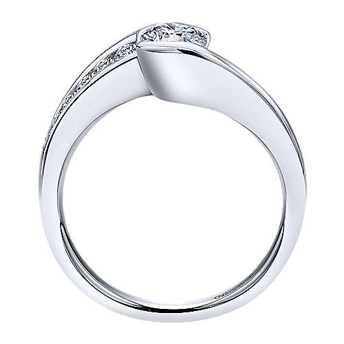14k White Gold Round Bypass Engagement Ring angle 2