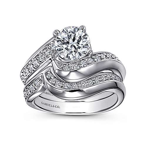 14k White Gold Round Bypass Engagement Ring angle 4