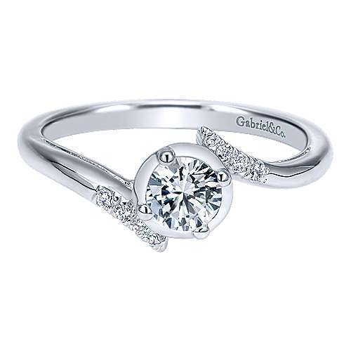 14k White Gold Round Bypass Engagement Ring angle 1