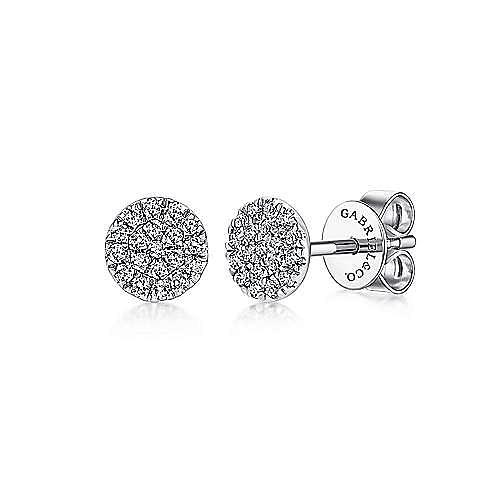 e45bd0538 14k White Gold Round Cluster Diamond Stud Earrings | EG12966W45JJ ...