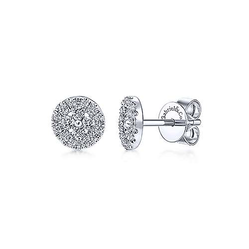 Gabriel - 14k White Gold Round Cluster Pave Diamond Stud Earrings
