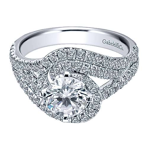 14k White Gold Round Criss Cross Engagement Ring angle 1