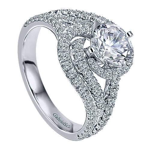 14k White Gold Round Criss Cross Engagement Ring angle 3