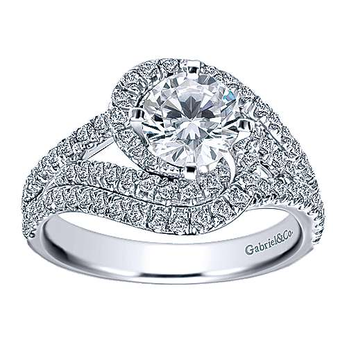 14k White Gold Round Criss Cross Engagement Ring angle 5