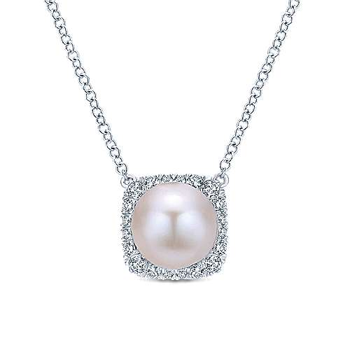 14k White Gold Round Cultured Pearl Cushion Cut Diamond Halo Fashion Necklace