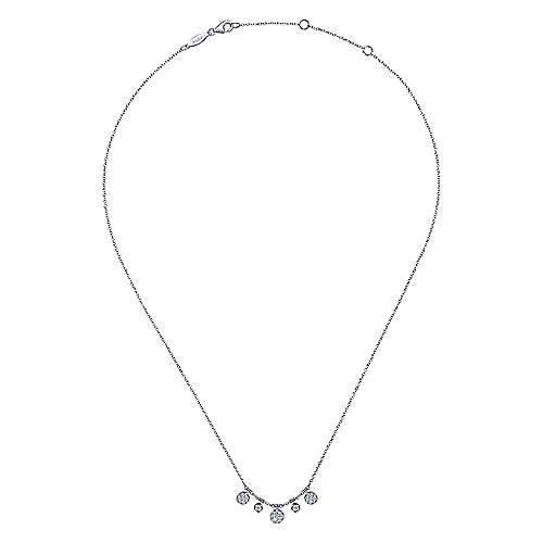 14k White Gold Round Diamond Charm Fashion Necklace