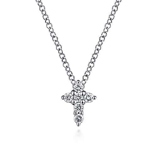 14k White Gold Round Diamond Cross Necklace