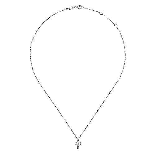 14k White Gold Round Diamond Cross Necklace