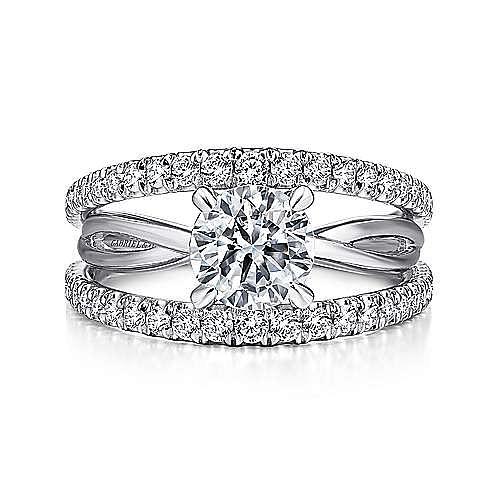 Gabriel - 14k White Gold Round Diamond Engagement Ring