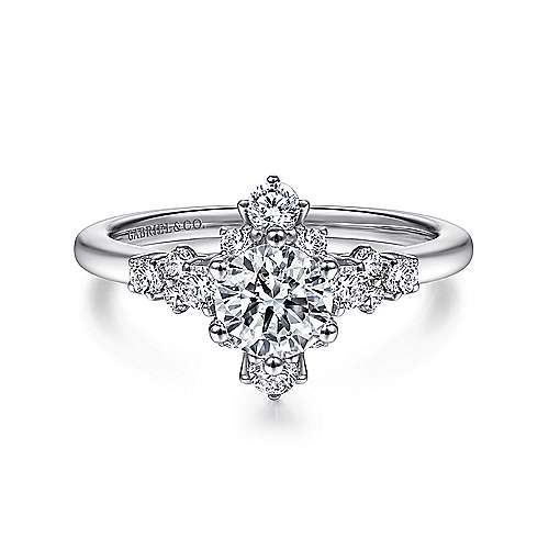 Gabriel - 14k White Gold Round Diamond Engagement Ring