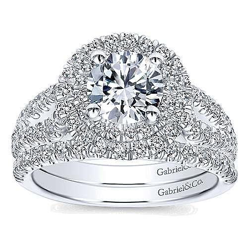 14k White Gold Round Double Halo Engagement Ring angle 4