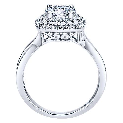 14k White Gold Round Double Halo Engagement Ring angle 2