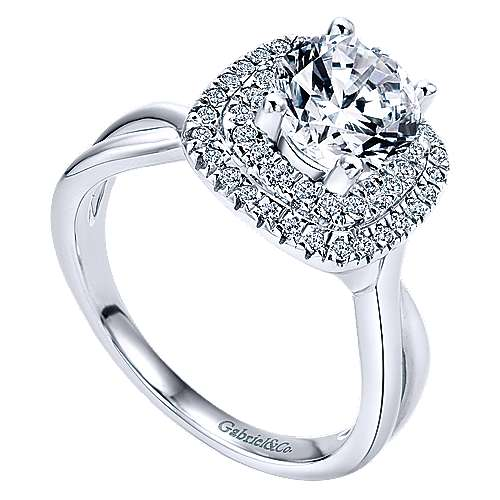 14k White Gold Round Double Halo Engagement Ring angle 3