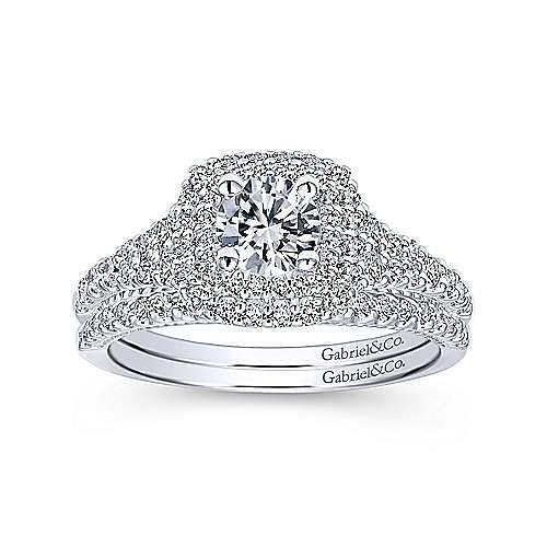 14k White Gold Round Double Halo Engagement Ring ER11876R0W44JJ