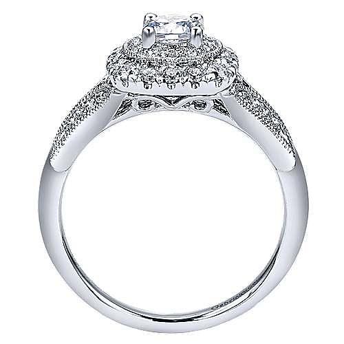14k White Gold Round Double Halo Engagement Ring angle 2