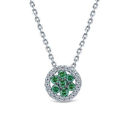14k White Gold Round Emerald Cluster Diamond Fashion Necklace