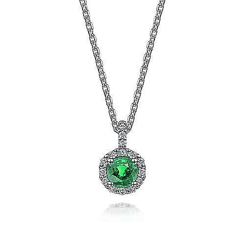 Gabriel - 14k White Gold Round Emerald Diamond Halo Fashion Necklace