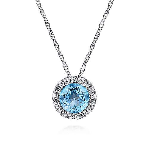 14k White Gold Round Fashion Swiss Blue Topaz Necklace