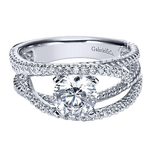 14k White Gold Round Free Form Engagement Ring angle 1