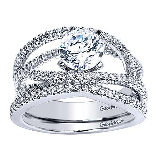14k White Gold Round Free Form Engagement Ring angle 4
