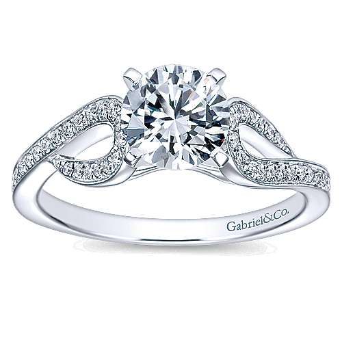 14k White Gold Round Free Form Engagement Ring angle 5