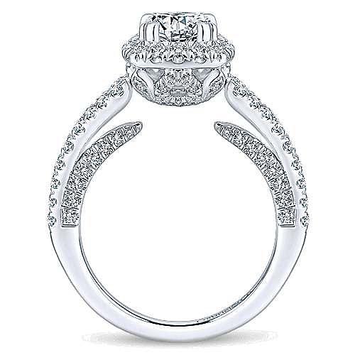 14k White Gold Round Halo Engagement Ring angle 2