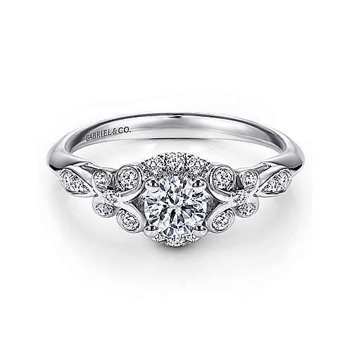 14k White Gold Round Halo Engagement Ring angle 1