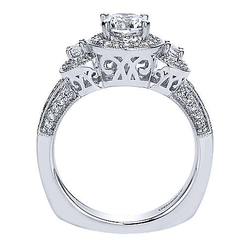 14k White Gold Round Halo Engagement Ring angle 2