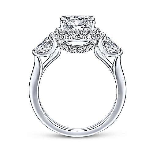 14k White Gold Round Halo Three Stone Diamond Engagement Ring